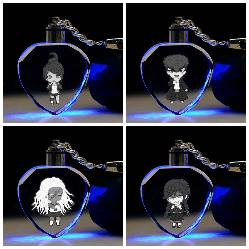 COSANER Dangan Ronpa a forma di cuore catene Anime chiave ha condotto il giocattolo di cristallo portachiavi Keychain Light Portachiavi Unisex Regali