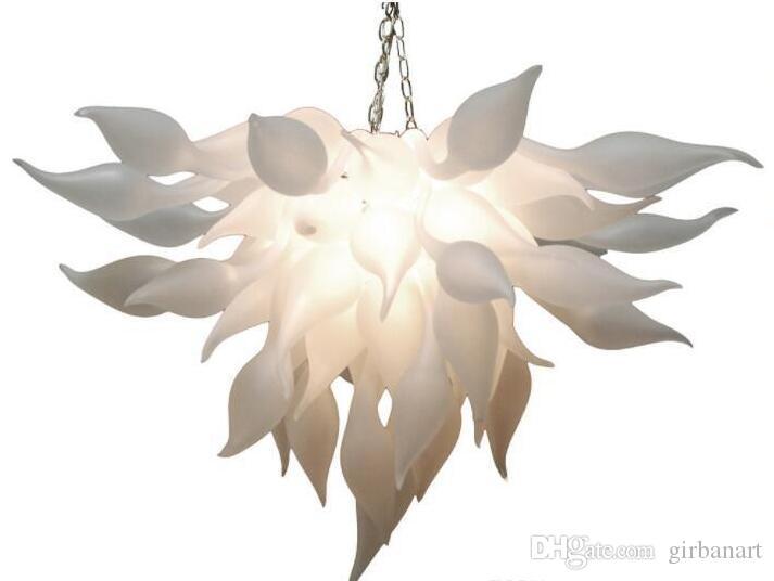 New Artistic White Murano Chandelier Light China Supplier Cheap Hand Blown Glass Chandelier for Art Decor LED Bulbs