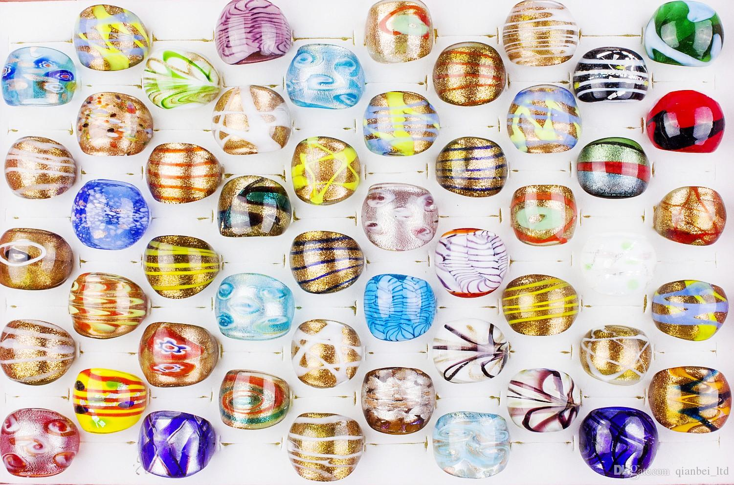 Wholesale 1200Pcs Summer Style Gold Sand Murano Glass Lampwork Bands Ring Birthday Men Women Wedding Party Valentine Gift DHL SHIPPING FREE