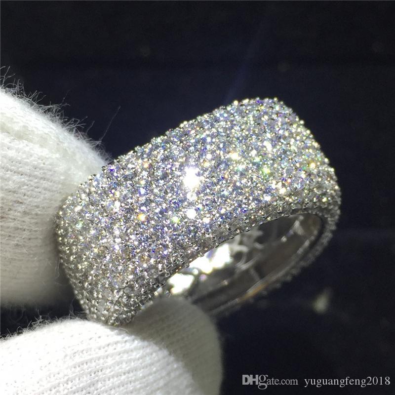 Marka Büyük Çift halkalı Tam 300 adet Simüle Elmas 925 Gümüş Nişan Alyans Yüzük Parti Yıldönümü Kadınlar parmak Hediye
