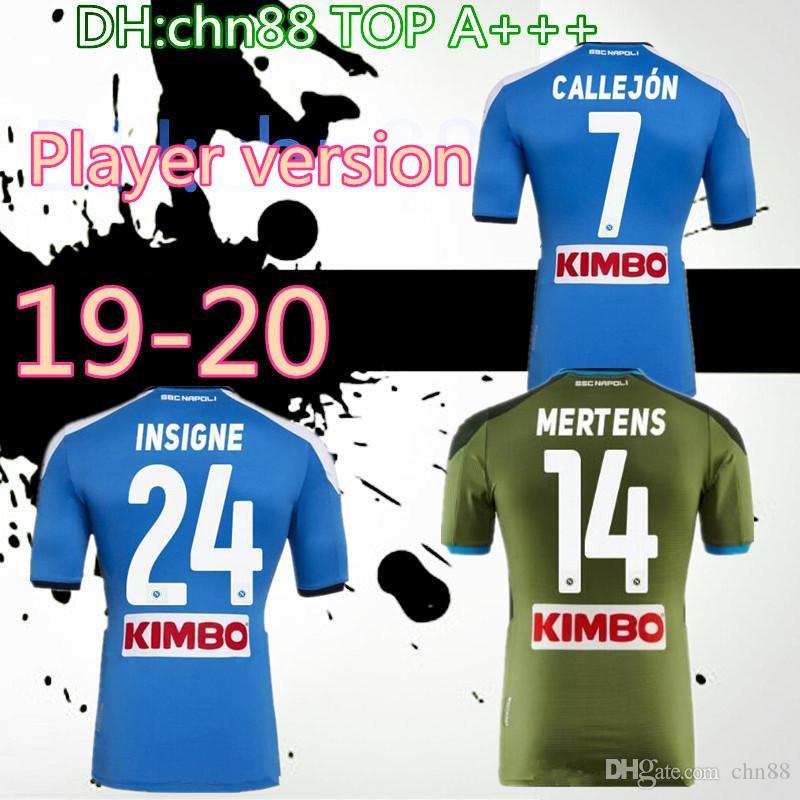 نسخة لاعب 2019 2020 دوري الدرجة الاولى الايطالي نابولي نابولي الرئيسية لكرة القدم بالقميص الأزرق نابولي لكرة القدم الفانيلة 19 20 LOZANO هامسيك L.INSIGNE كرة القدم قميص
