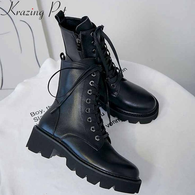 krazing pot superstar genuine leather thick med heel motorcycle boots platform round toe metal rivets lace up ankle boots l36 T191210