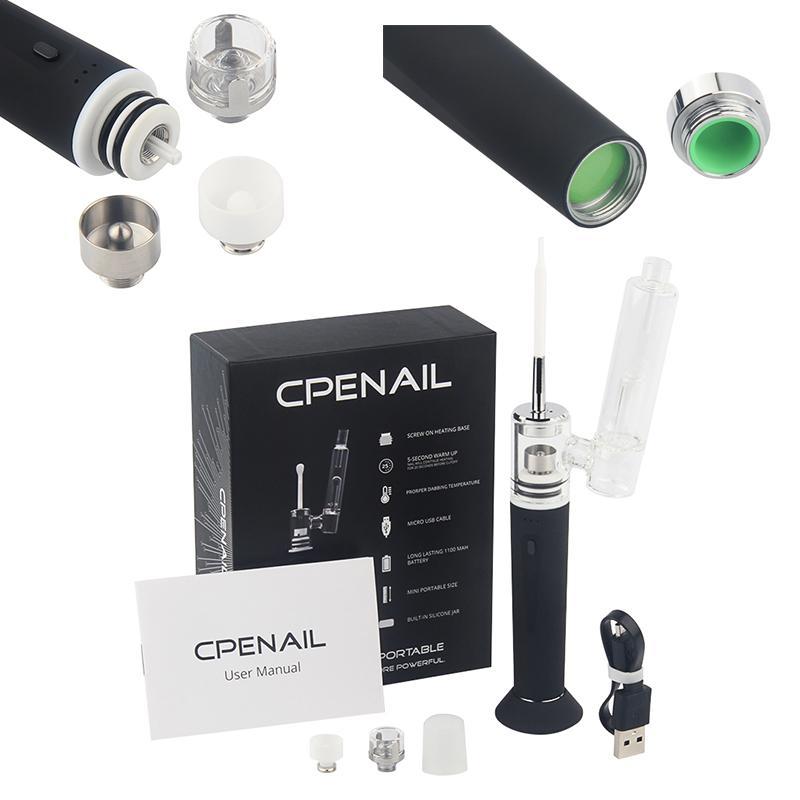 Enail Dab Rig Portable Vapoizer Pen CPENAIL cire kits de démarrage 1100mAh H Nail GR2 titane pur Céramique Quartz électrique en verre Bong vapes