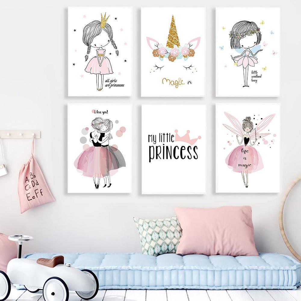 Pinturas de flores del rosa del kawaii niñas cartel de la acuarela Nursery Decor lona de la impresión del arte cuadros de la pared del sitio de niños regalos Decoración del hogar