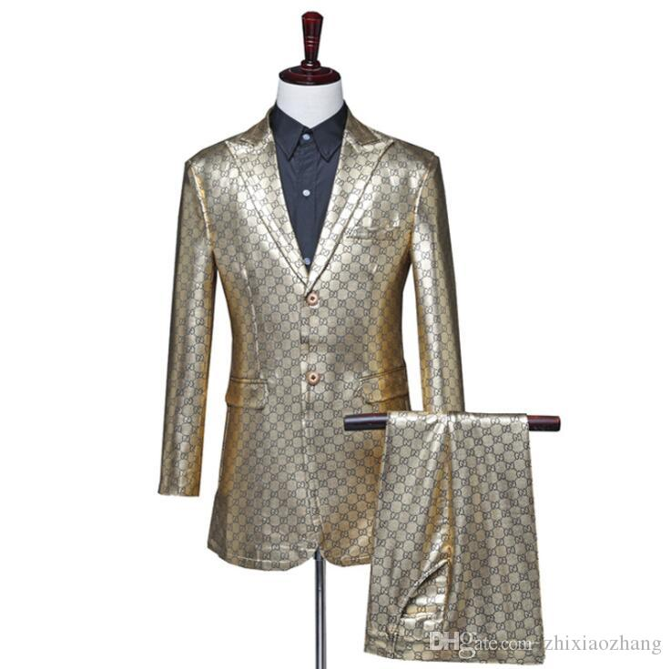 Gold PU blazer men suit set with pants mens Medium long trench coat costume singer star style dance stage fashion clothing man formal dress