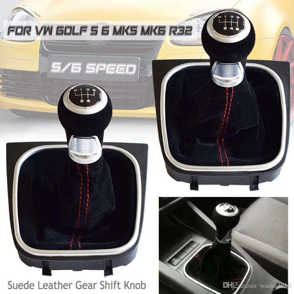 MT GEAR SHIFT KNOB LEVER مع جلد الغزال الجيتر التمهيد سيارة التصميم ل Volkswagen VW Golf 5 6 MK5 MK6 R32 GTI 2004-2009