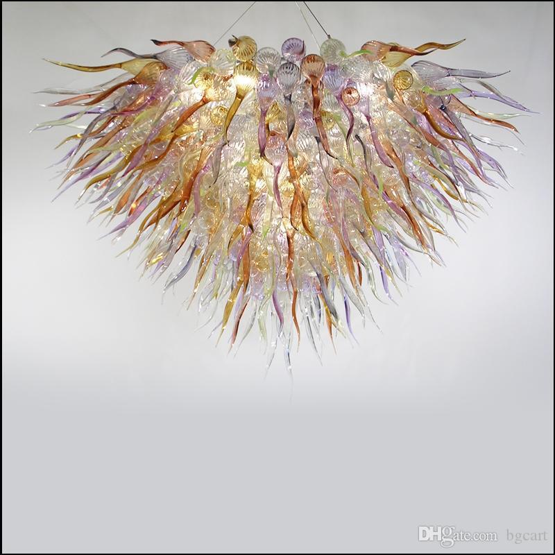 كبير بيع تشيهولي نمط الثريا فن تصميم متجمد زجاج مورانو قلادة مصابيح الزجاج المنفوخ يدويا أدي أضواء