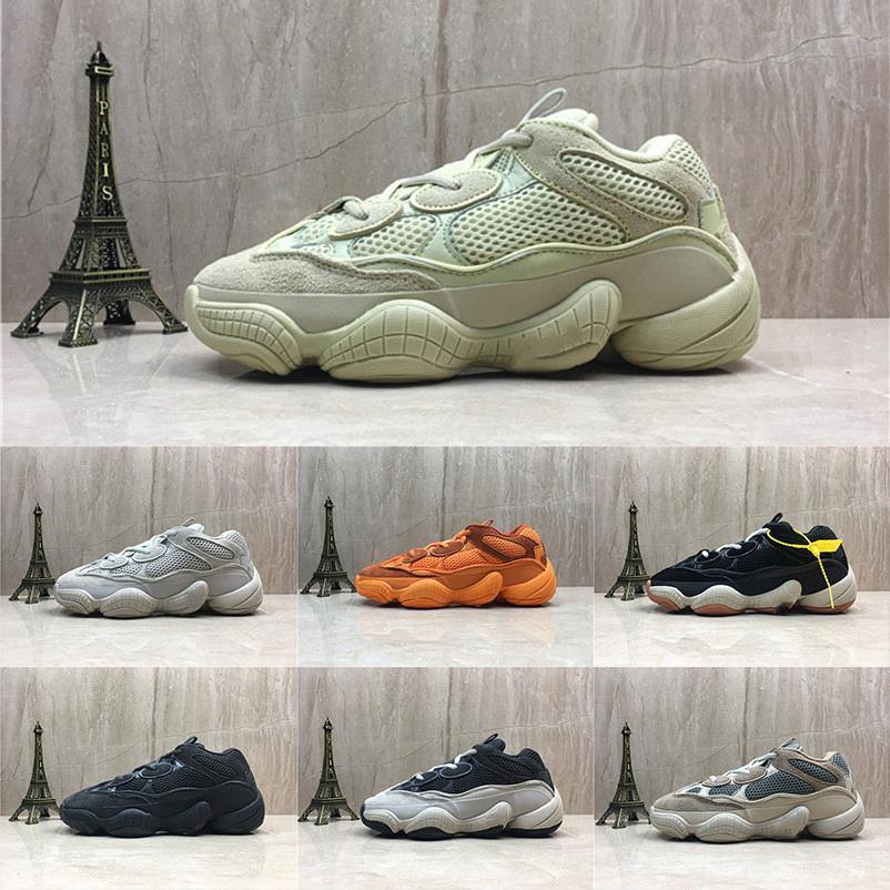 Nuovo Salt Kanye West 500 pattini correnti degli uomini con la scatola 2019 Designer Shoes Super Luna Giallo Blush Deserto Rat 500 Sport Sneakers9236 #