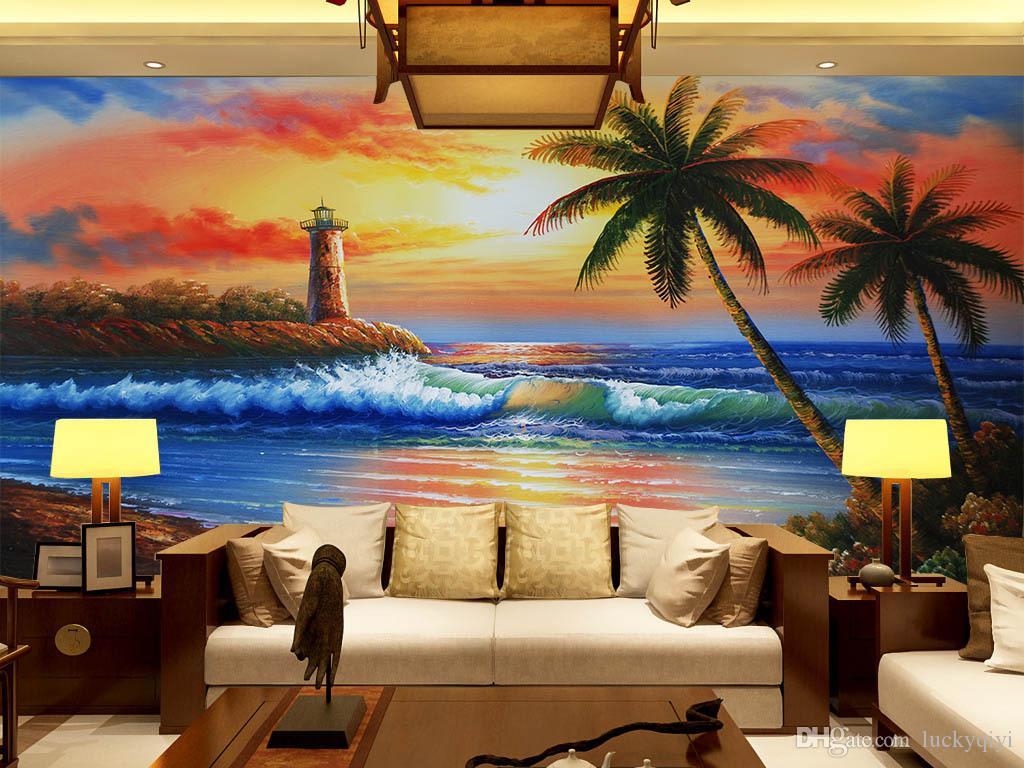 3d pintura al óleo colorida europea paisaje costero papel tapiz murales grandes sala de estar porche sofá pared TV fondo de pantalla
