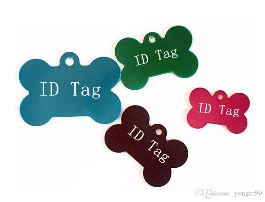 100 pcs Cores Misturadas Dupla Face Em Forma de Osso Personalizado Dog ID Tags Personalizado Gato Nome Do Animal de Estimação Telefone No. (Não oferecer Serviço de Gravação)