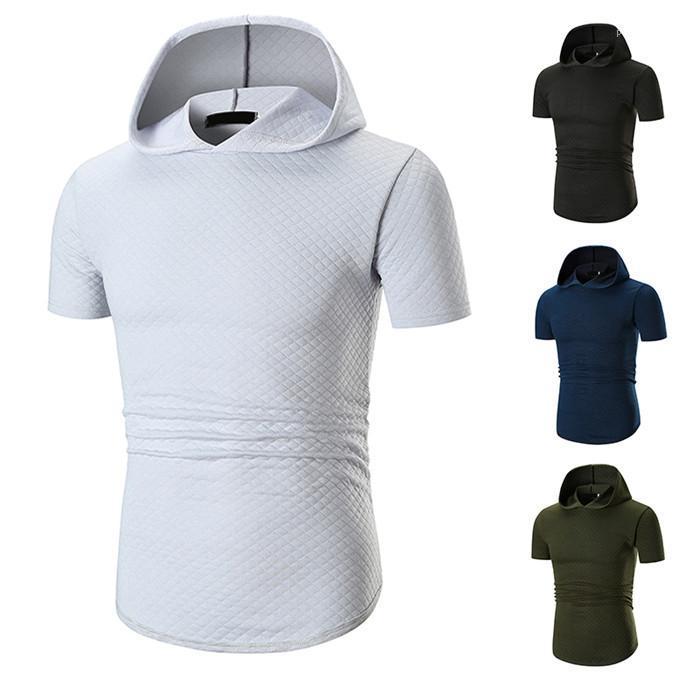 2019 Yaz Yeni Kapşonlu Büyük Erkek Tişörtü Popüler Gündelik Katı Kısa Kollu Nefes Tasarımcı Gömlek