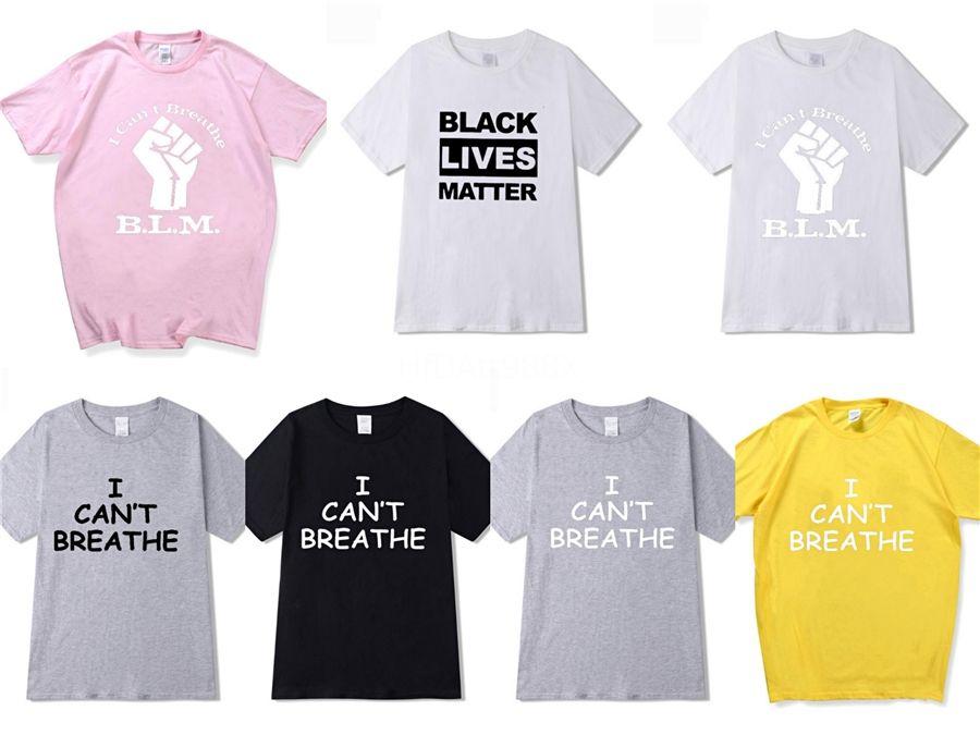 I Cant Breathe! 2020 coton pour hommes T-shirts femmes T-shirt d'été Vêtements Designer Vêtements pour hommes T-shirt blanc de mode Sweat ras du cou Top # 48