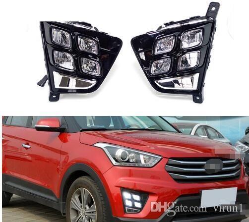 Ücretsiz kargo Araba Aksesuarları Su Geçirmez ABS 12 V LED Gündüz Çalışan Işık DRL Sis Lambası Dekorasyon Hyundai Creta IX25 2014 2015 2016