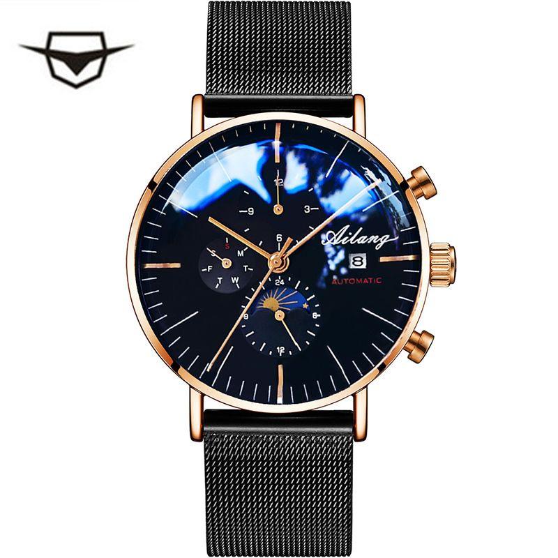 Ailang Hommes Mécanique Automatique De Mode Top Marque Sport Montre Tourbillon Phase De Lune En Acier Inoxydable Montre Homme Horloge Y19052103