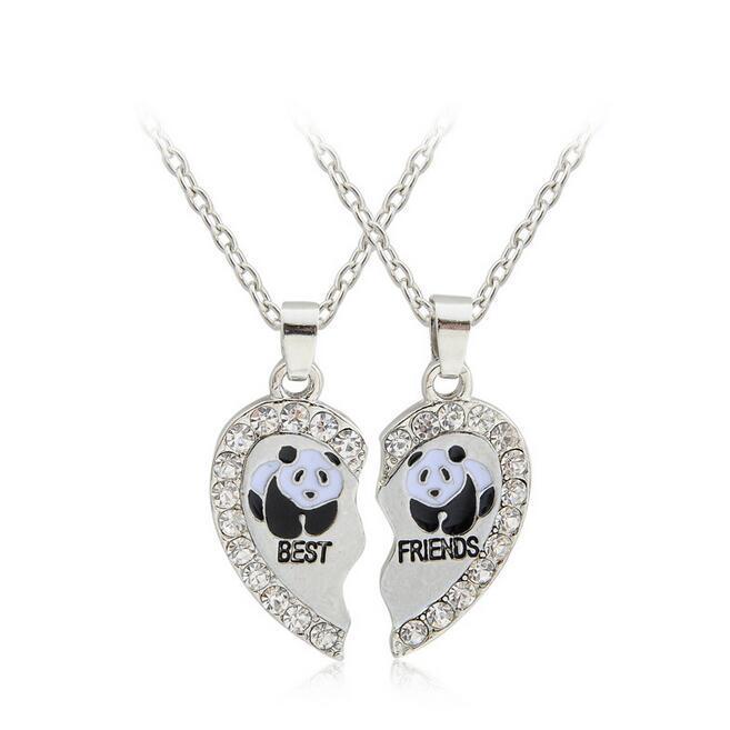 1 jeu = 2 Pendentif ancre pingouin dauphin piecesPanda meilleurs amis amour collier de diamants DJN405 mélange pour bijoux Pendentif Colliers