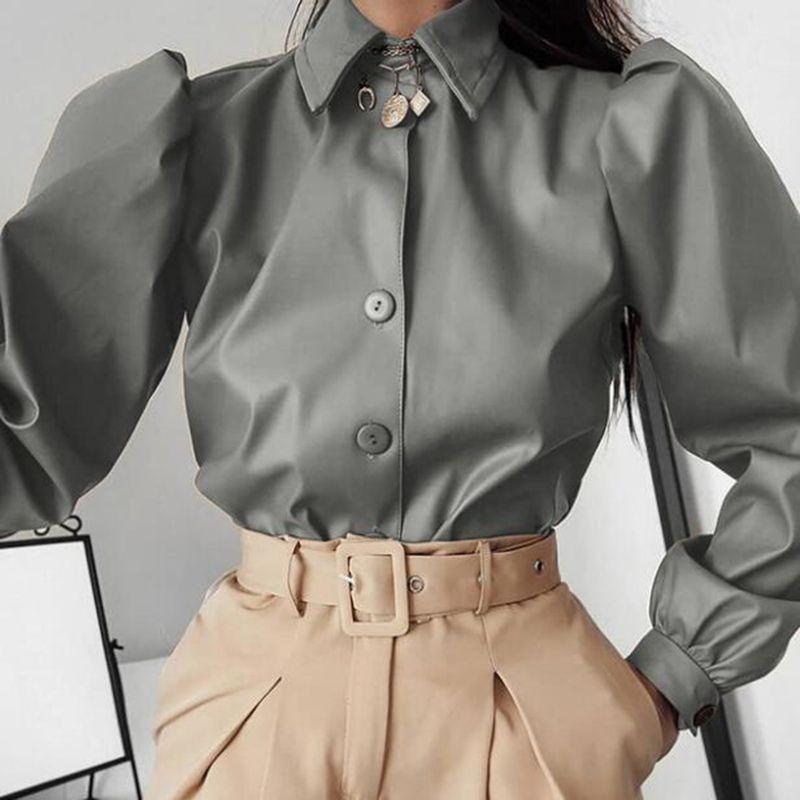 Long Puff Sleeve Turn Down Collar Women Shirt Button Faux Leather Elegant Fashion Autumn Winter Casual Brown Blouse Tops
