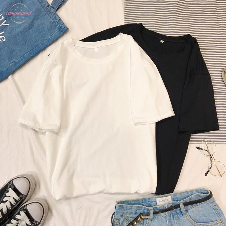 Harajuku Tee Gömlek 4 Katı Renk Temel Tişörtlü Kadınlar Casual Ç Boyun Yaz Üst Kore Hipster Streetwear Beyaz Tişört
