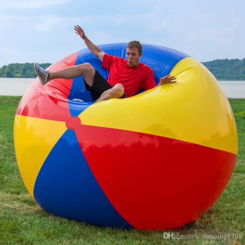 80 سنتيمتر / 100 سنتيمتر / 150 سنتيمتر العملاق نفخ كرة الشاطئ كبير ثلاثة ألوان سميكة pvc كرة الماء كرة القدم في الهواء الطلق حزب الاطفال اللعب