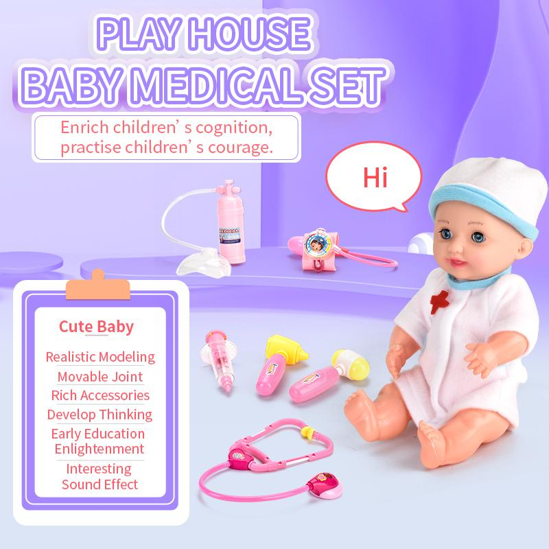 TW1909012 doctor set toys 12 inch music doll doctor set Baby Medical Set Play house with Beautiful Music