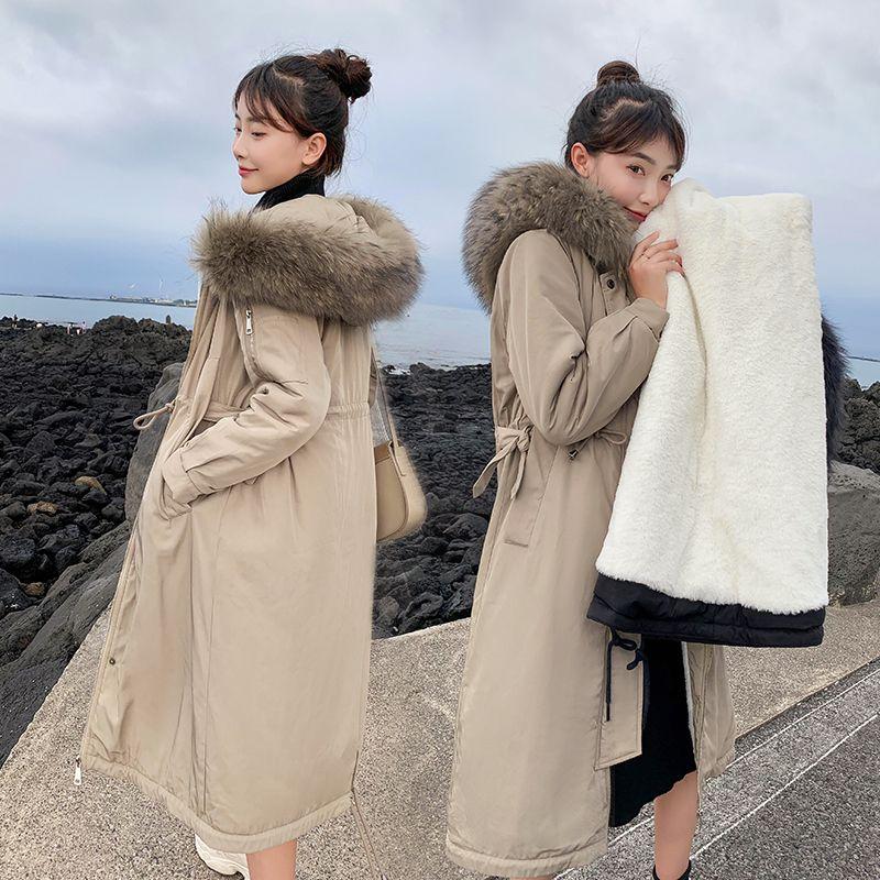 2019 Nouvelle arrivée lacées Slim femmes Veste d'hiver en velours de coton plus chaud Thicken manteau dames Manteaux longs Parka Femmes Vestes