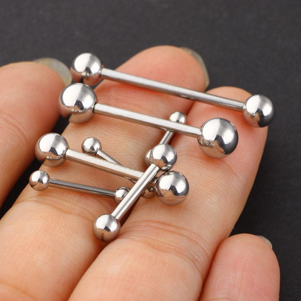 Tongue Barbell Ring Stainless Steel 70pcs / Lot Mix 7 Sizes Body Piercing Jewelry Tongue Ring Fashion