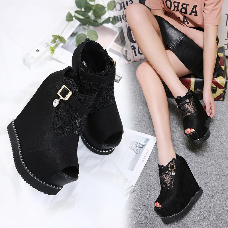 Fascinating2019 A 14cm15 Centimeter Super High Po Shoes With Within Increase Lace Back Zipper Fish Mouth Woman Sandals