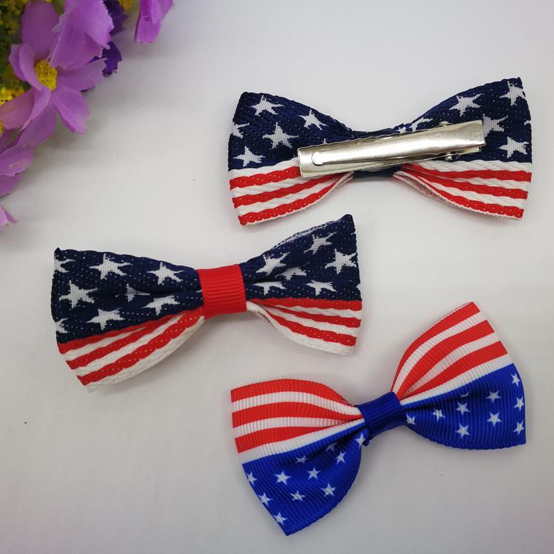 Amerikanische Flagge Bogen-Haarnadel 2020 Trump Wahl American Independence Day US National Day Supplies Auf Lager! Großhandelspreis-freies Verschiffen