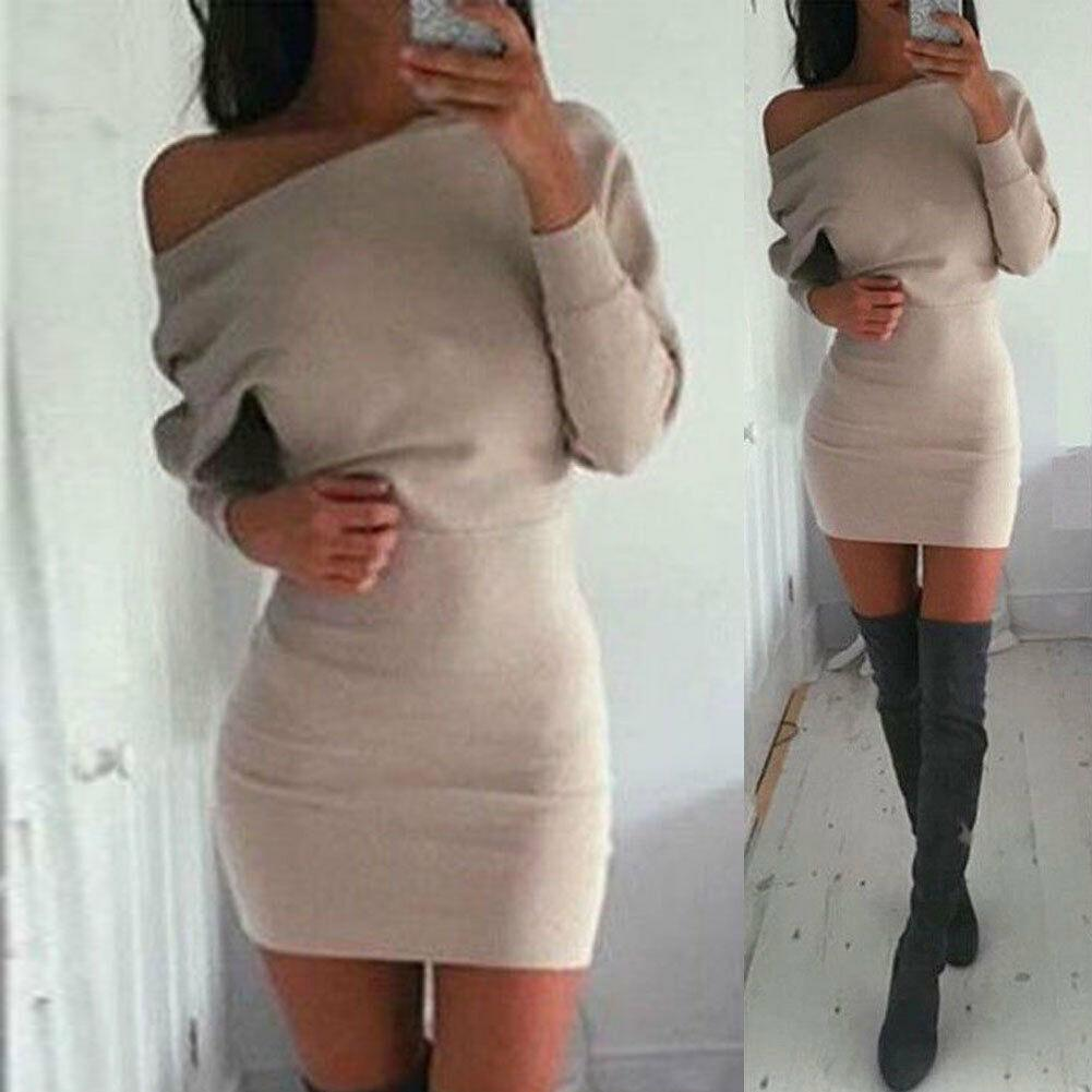 Donne Inverno spalle scoperte lungo sexy del fodero del manicotto dell'anca del pacchetto maglione sottile aderente sottile che si adatta Vestito longuette