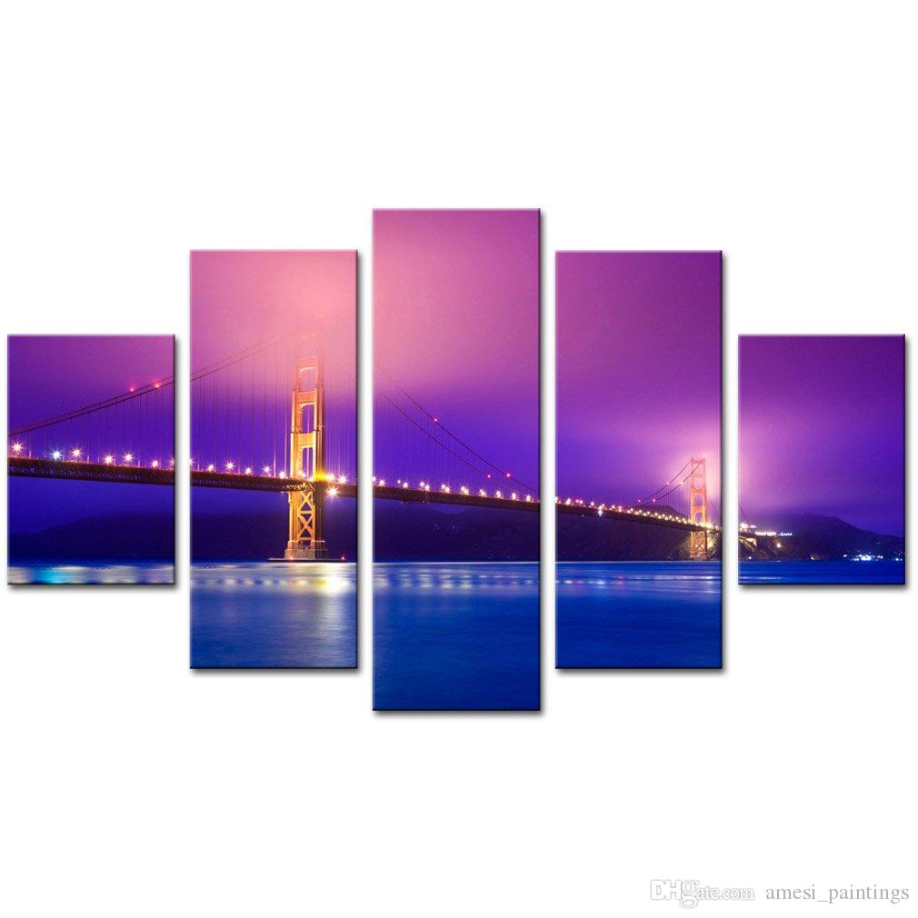 Modern Canvas Painting 5 Panels Golden Gate Bridge Wall Art Prints Canvas Home Living Room Decor Without Framed