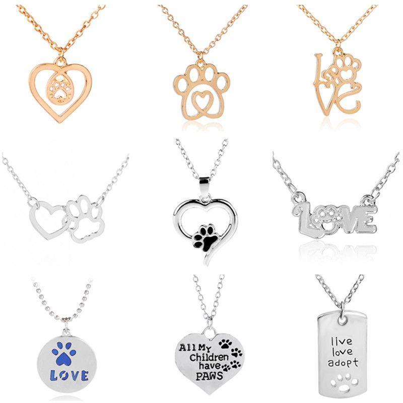 2019 Recém-28 Design Mistura da pata do cão Mulheres bonito coração pingente de colar Colares festa para meninas ouro colares Curto