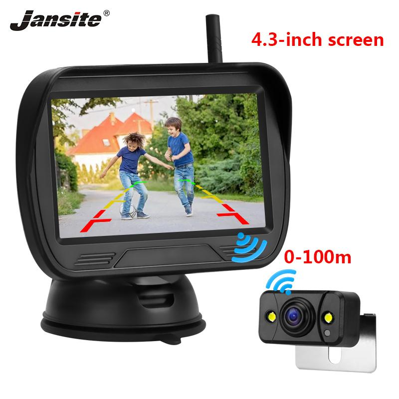 "Jansite 4.3"" Wireless Monitor car Rear view camera for Rear Camera Parking Rearview System Night Vision lens waterproof cameras"
