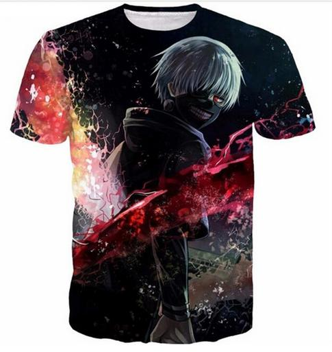 Casual Mens Womans Anime Tokyo Ghoul 3D HD Stampa T-shirt Estate a maniche corte T-shirt O-Collo Stile di modo Unisex Shirt Marca Tees RX029