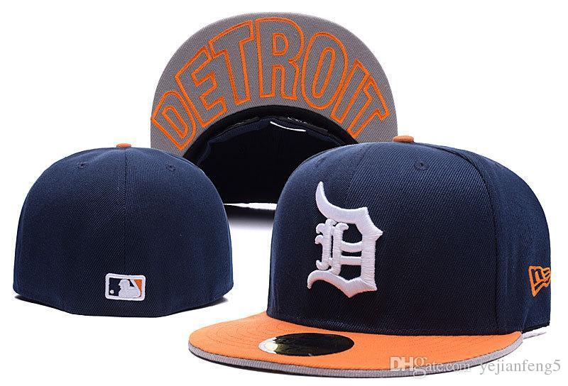 Приспособленные шляпы шляпа от солнца Детройтская шляпа Тигровая кепка Команда Бейсбол Вышитая Команда Плоская Поля Взрослый Бейсболка Кепка Размеров Спортивные бренды