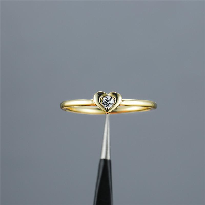 Простой Женский белый круглый кристалл кольцо Модные цвета золота Thin Обручальное кольцо шарма Свадебные кольца Любовь сердца помолвки для женщин