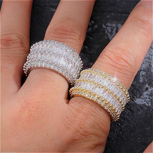 Nova Chegada de ouro 18K CZ Cubic Zirconia anel de dedo White Diamond Rapper Hip Hop anéis de noivado Jóias Presentes para Casais Atacado