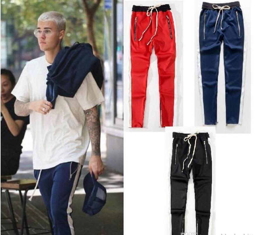 2021 mujeres de los hombres de la cremallera lateral de los pantalones de Hip Hop Fear Of God algodón Pantalones Popular hombres de la marca '; s Casual Pantalones de chándal