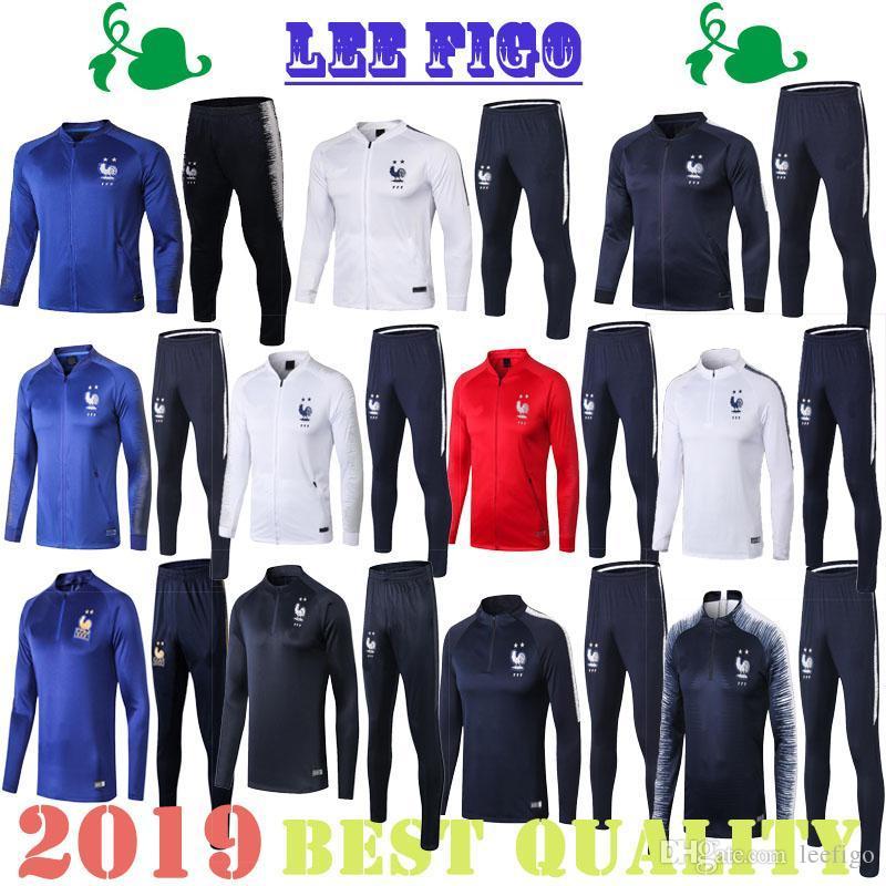 2019 Dos estrellas Fr Jacket de entrenamiento de fútbol 18/19 Griezmann Pogba Francés Tacksuit Top Tacksuit Training Maillot Shirts