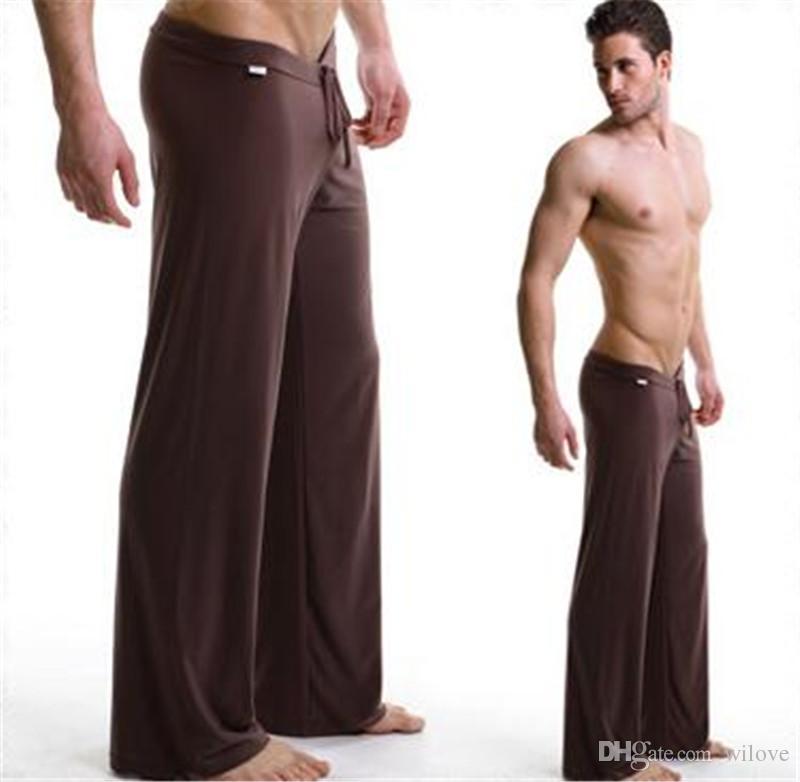 Herren Low Rise Sweatpants Sport Pyjama Männer Yogahosen Nachtwäsche Hosen Lounge Ice Silk Männer Pyjamas Sexy Lange Unterwäsche Mann Mens Yoga Hose