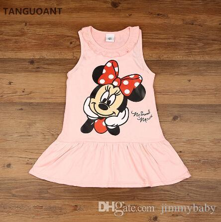 JIMMYBABY New hot Kids girls clothes cute cartoon Dress, 2 colors of red and pink nice Clothes, lovely baby girls dress