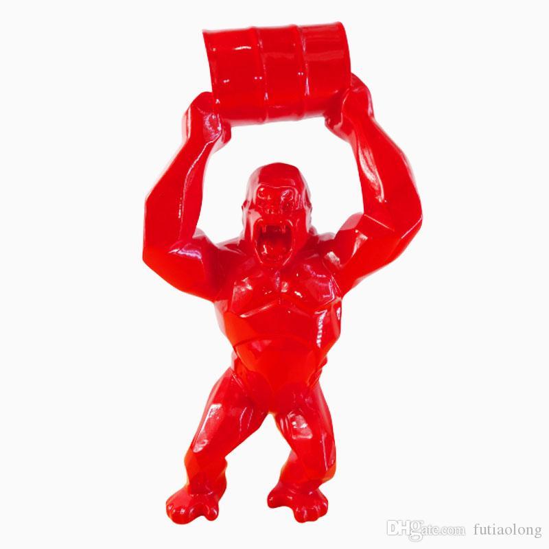 """16"""" Big criativa King Kong Decoração Art Craft animal Simulação Resin Statue Gorilla Busto Figura Modelo Toy BOX 40CM Collectible"""