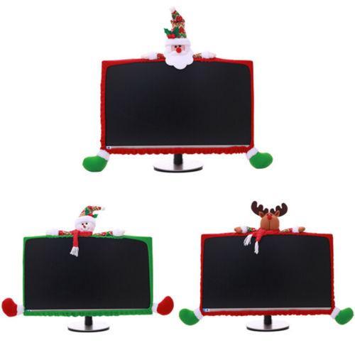 Creative Écran d'ordinateur Protection anti-poussière non-tissé Père Noël Décoration de Noël écran d'ordinateur Moniteur Bordure couverture Décor 19-27Inch