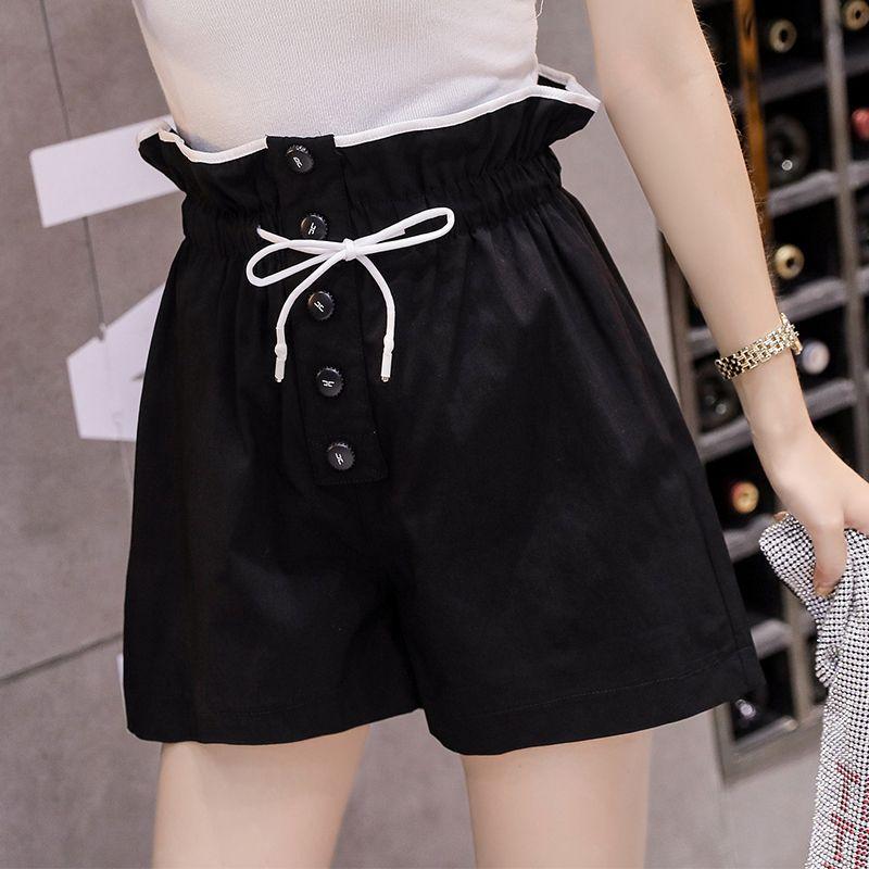 السراويل النسائية 2021 الكورية نمط الأزياء الحديثة عالية الخصر الساق واسعة فضفاضة النساء عارضة السراويل الصيف مرونة