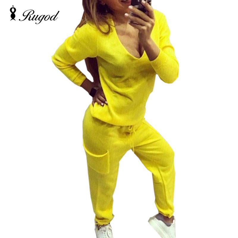 2018 Casual Chándal Mujer Dos piezas Set Suéter de punto Suéteres Tops Escote en v profundo Sudadera de manga larga + Pantalones Conjuntos de mujeres
