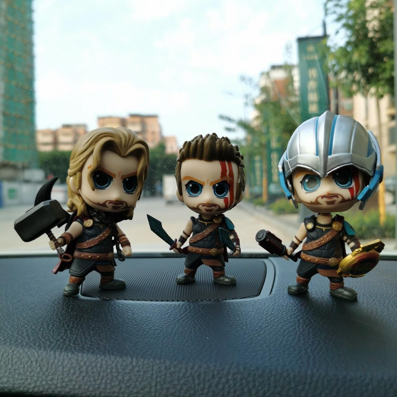 S Animated Q Version of Head Car Figures Avengers Four HT Hulk Rocky Land of Fire Thor Figures