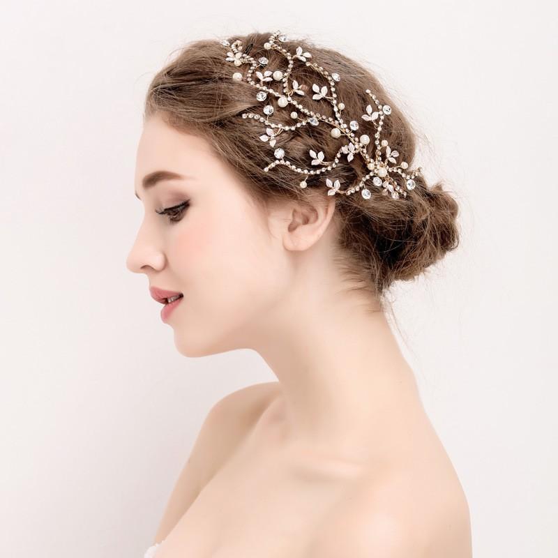 Clip de la joyería al por mayor Rhinestone nupcial hoja de oro del pelo Vine Perlas pelo de la boda Mujeres accesorios hechos a mano de Headwear