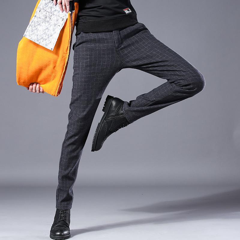 Winter Samt verdicken beiläufige Klage-Hosen Herren-Unterhalt warmen Fleece Männer Hose Geschäft lost gerade Stretch-lange Kleid Hose