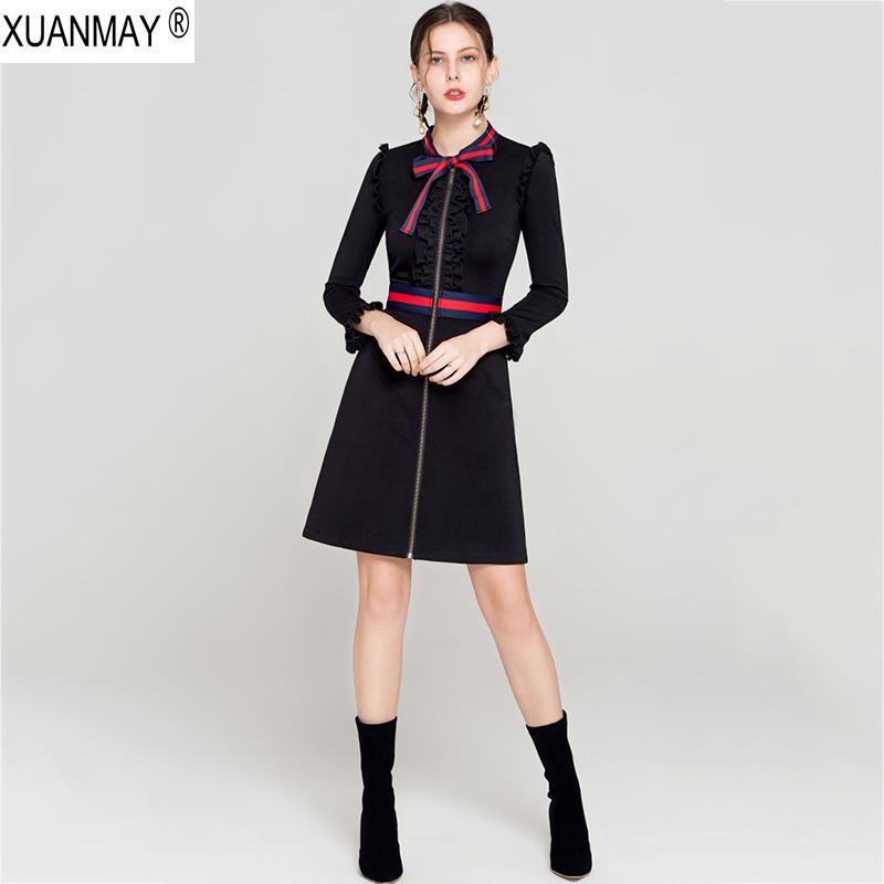 2019 chaqueta de punto estilo de manga larga Negro Nueva primavera suéter largo vestido de resorte de las mujeres del suéter de la oficina de señora con cremallera chaqueta de punto vestido CJ191217