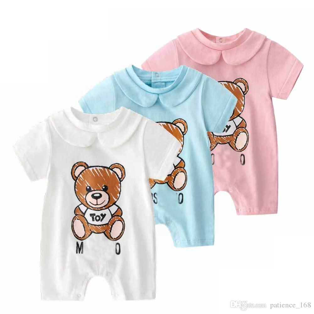 kids romper 2019 INS summer styles new arrival baby kids climbing doll collar cartoon bear short sleeve high quality cotton romper 3 colors