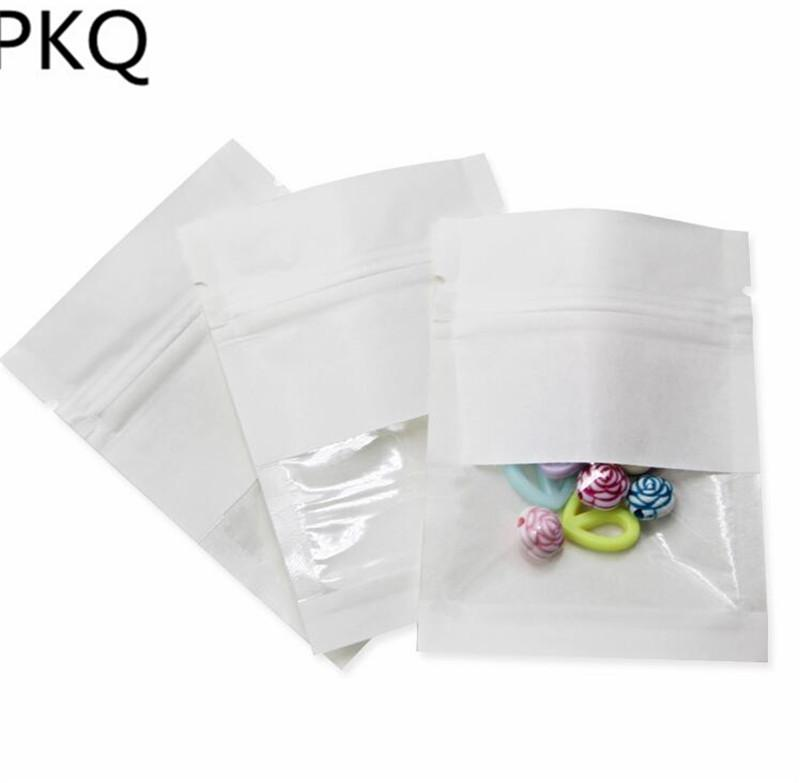 PVC Pencere Gözyaşı Çentik Kahverengi Kağıt ile 100pcs Küçük Kraft Kağıt Torba Snack Kuru Çiçek Kılıfı Packaging için Bag Zip