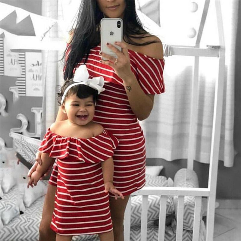 Family Matching Clothes Cute Mother and Daughter Summer Outfits Striped Dress